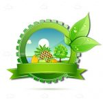 Natural & Healthy Themed Badge with Landscape
